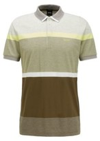 HUGO BOSS - Regular Fit Polo Shirt With Engineered Color Block Stripes - Dark Green