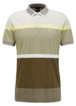 HUGO BOSS Regular Fit Polo Shirt With Engineered Color Block Stripes - Dark Green