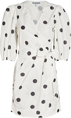 Ganni Polka Dot Mini Wrap Dress