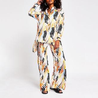 River Island Cream tropical print overisized shirt
