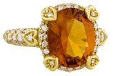 Judith Ripka 18K Citrine & Diamond Cocktail Ring