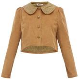Batsheva Peter Pan-collar Cotton-corduroy Jacket - Womens - Brown