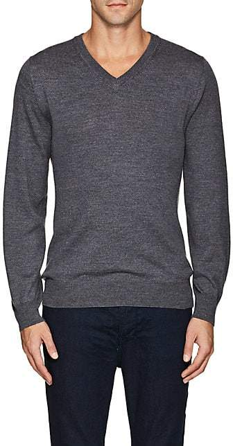 Luciano Barbera MEN'S WOOL V-NECK SWEATER - GRAY SIZE XS