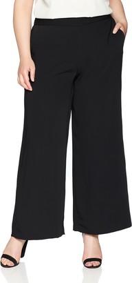 Nine West Women's Size Plus Crepe Wide Leg Trouser Pant