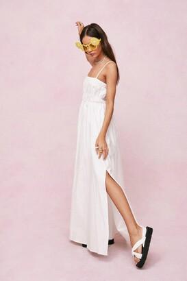 Nasty Gal Womens Shirred Square Neck Maxi Smock Dress - White - 4