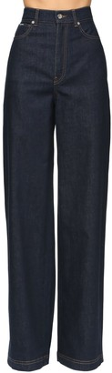 Dolce & Gabbana High Waist Wide Leg Cotton Denim Pants