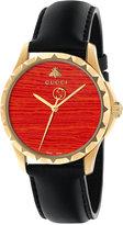 Gucci Women's Swiss G Timeless Black Leather Strap Watch 38mm YA126464