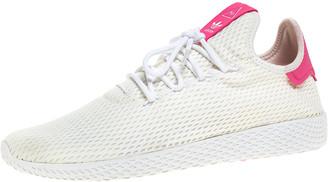adidas Pharrell Williams x White Cotton Knit PW Tennis Hu Sneakers Size 46