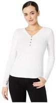 Three Dots Viscose Rib Long Sleeve Henley (White) Women's T Shirt