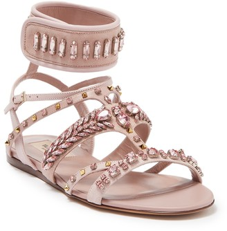 Valentino Jeweled Ankle Cuff Sandal