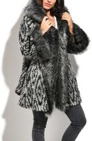 Gray Geometric Faux-Fur Hooded Wool-Blend Coat