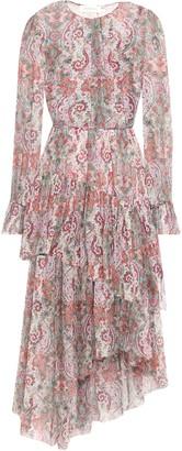 Zimmermann Asymmetric Tiered Printed Silk-chiffon Midi Dress