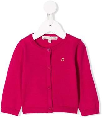 Bonpoint embroidered cherry logo cardigan