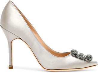 Manolo Blahnik Hangisi 105 silver grey satin pumps