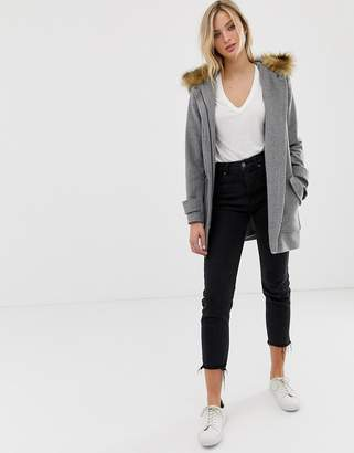 Naf Naf coat with big pockets and faux fur hood-Grey