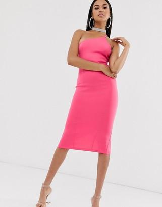 Asos Design DESIGN one shoulder strappy back midi dress-Yellow