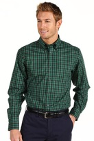 Nautica L/S Wrinkle-Resistant Saturated Tartan Shirt (Dark Green) - Apparel