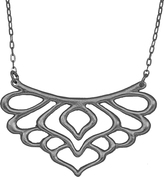 Mercedes Shaffer Peacock Feather Collar Necklace with Gunmetal Finish