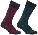 John Lewis Novelty Christmas Socks, One Size, Pack Of 2, Navy