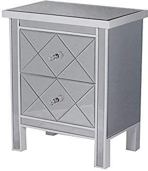 Heather Ann Creations The Emmy Collection Modern Style Mirrored Tall 2 Drawer Bedroom Accent Storage Chest Cabinet