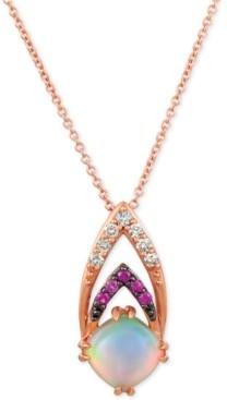 "LeVian Le Vian Neopolitan Opal (3/4 ct. t.w.), Passion Ruby Accent & Nude Diamonds (1/10 ct. t.w.) 18"" Pendant Necklace in 14k Rose Gold"