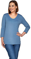 Denim & Co. As Is Essentials 3/4 Sleeve Knit Top with Pocket