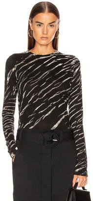 Proenza Schouler Long Sleeve Tie Dye Tee in Black & White Diagonal | FWRD