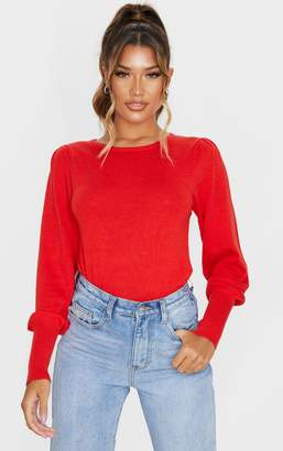 PrettyLittleThing Red Puff Sleeve Knitted Jumper
