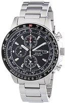 Seiko Men's SSC009 Solar Chronograph Black Dial Flight Watch