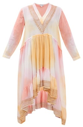 Juliet Dunn Embroidered Tie-dyed Cotton Dress - Womens - Pink Multi