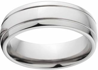 Online Polished 7mm Titanium Wedding Band with Comfort Fit Design