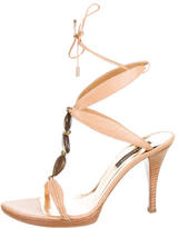 Sergio Rossi Embossed Ankle Wrap Sandals