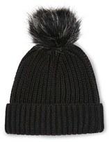 Topshop Women's Tipped Faux Fur Pom Beanie - Black