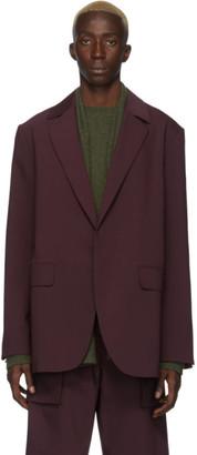 Deveaux New York Burgundy Bonded Wool Blazer