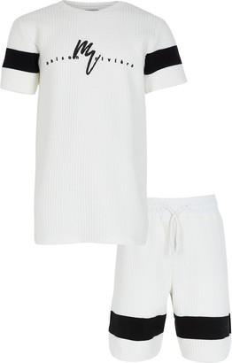 River Island Boys White texture blocked maison t-shirt set