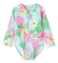 Little Me Baby Girls Tropical 1 piece Long Sleeve Rashguard