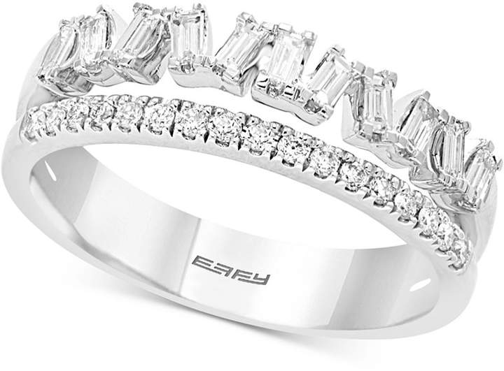 Effy Diamond Two-Row Baguette Ring (3/8 ct. t.w.) in 14k White Gold