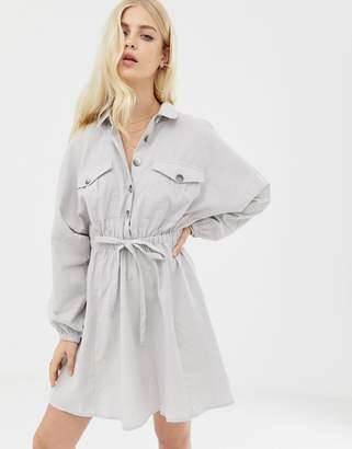 Asos Design DESIGN mini casual shirt dress with long sleeves and drawstring waist-Grey