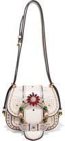 Miu Miu Dahlia Embellished Leather Shoulder Bag - White