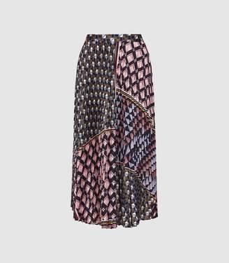 Reiss Leah - Geo Knife Pleated Midi Skirt in Multi
