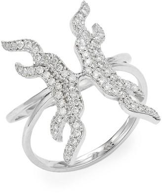 Sara Weinstock Taj 18K White Gold Diamond Butterfly Wing Ring