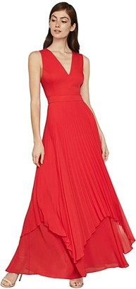 BCBGMAXAZRIA Pleated Cutout Gown (Rosso) Women's Dress