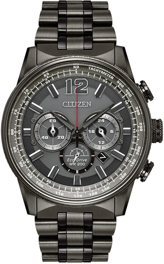 Citizen Eco-Drive Men's Chronograph Nighthawk Gray Stainless Steel Bracelet Watch 43mm