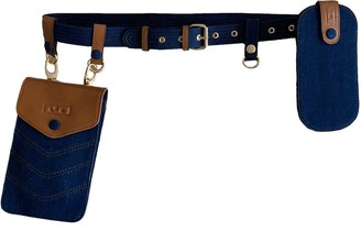 L2r The Label Double Belt Bag In Rescued Tan Leather & Denim