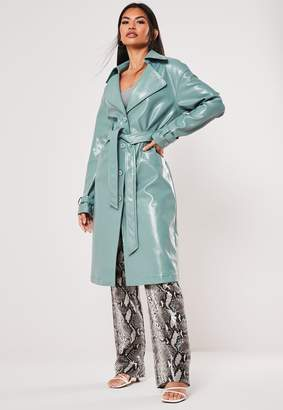 Missguided Green Textured Vinyl Trench Coat