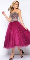 Mac Duggal Strapless Tulle Beaded Tea Length Dress