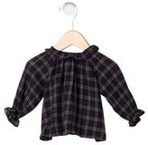 Bonpoint Girls' Plaid Long Sleeve Top