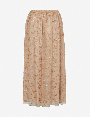 RED Valentino Sequin-embellished tulle midi skirt