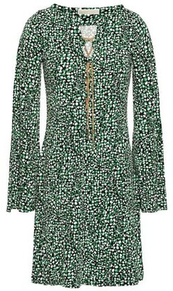 MICHAEL Michael Kors Lace-up Chain-embellished Printed Stretch-jersey Mini Dress