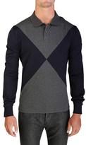 Moncler Men's Gamme Bleu Long Sleeve Polo Shirt Navy.